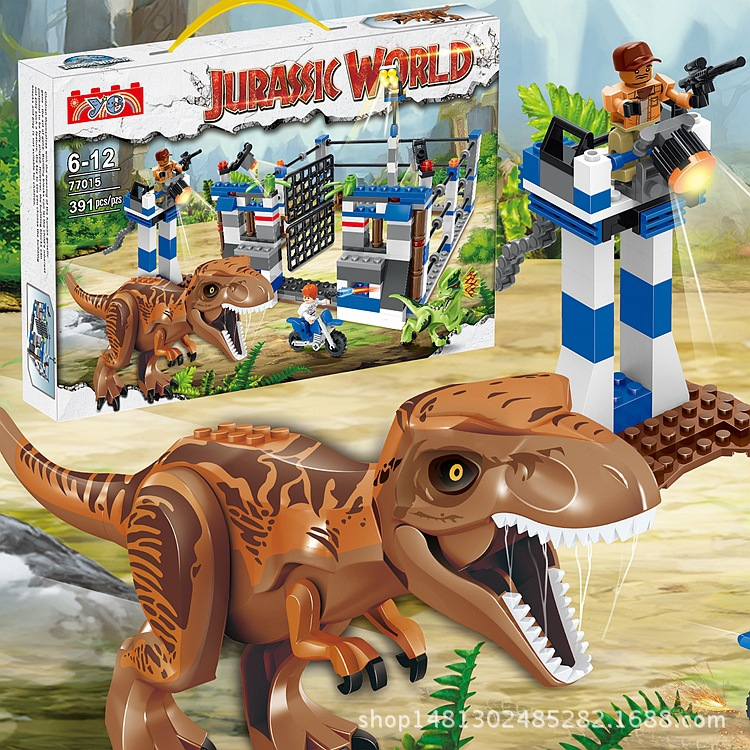 391PCS Jurassic World Park Dinosaur Raptor protection zone Building Blocks Sets Bricks Kids Toys juguetes Classic Legoings BKX29 mini jurassic world park fossil triceratops raptor skeleton building blocks sets bricks kids model kids creator toys marvel city