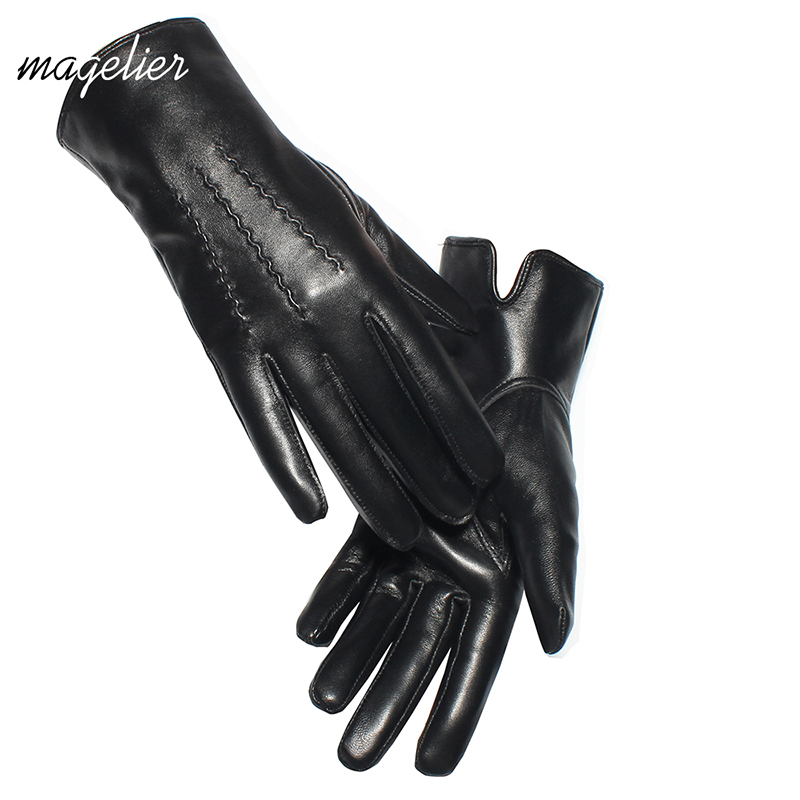 Magelier Touchscreen Genuine Leather Gloves Women Lady Genuine Sheepskin Gloves Warm Lining Winter Female Gloves Leather 071