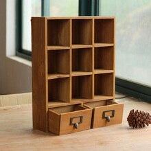 Zakka Ретро деревянный ящик стола тип хранения кабинета Многофункциональный Коробка для хранения витрина