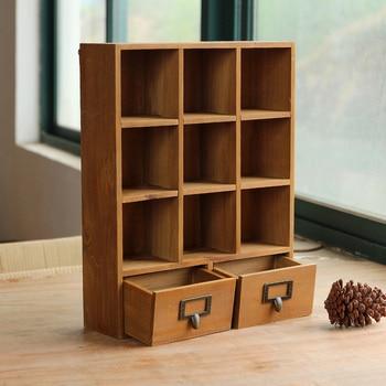 Zakka retro wood desktop drawer type storage cabinet cabinet multifunctional storage box display cabinet