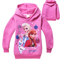2 colour 5pcs/lot Snow Queen Elsa Anna long sleeve thick hoodies sweaters Fleece jumper Kids clothing 803