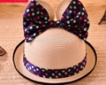 Fashion Women Wide Large Brim mouse ear with big bow lovely adult Sun Straw Hat Cap Free Shipping