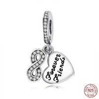Authentische 925 Sterling Silber Charme Für Immer Freund Herz Anhänger Perlen Für Original Pandora Charme Armbänder & Armreifen Schmuck