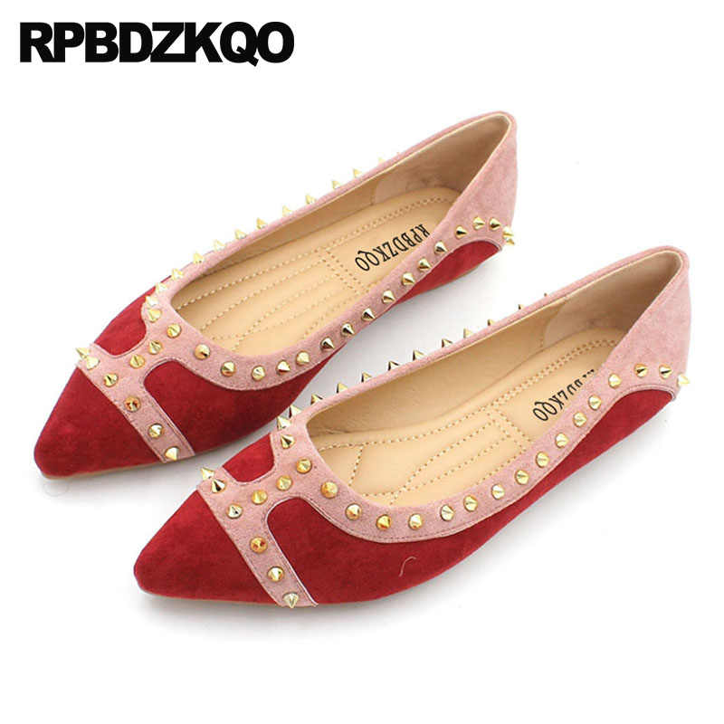 918ca3b0059 Italian Rivet Metal Brand Size 35 Party 9 Designer Shoes Women Luxury 2019  5 Flats Ladies Pointed Toe Large Slip On Stud Suede