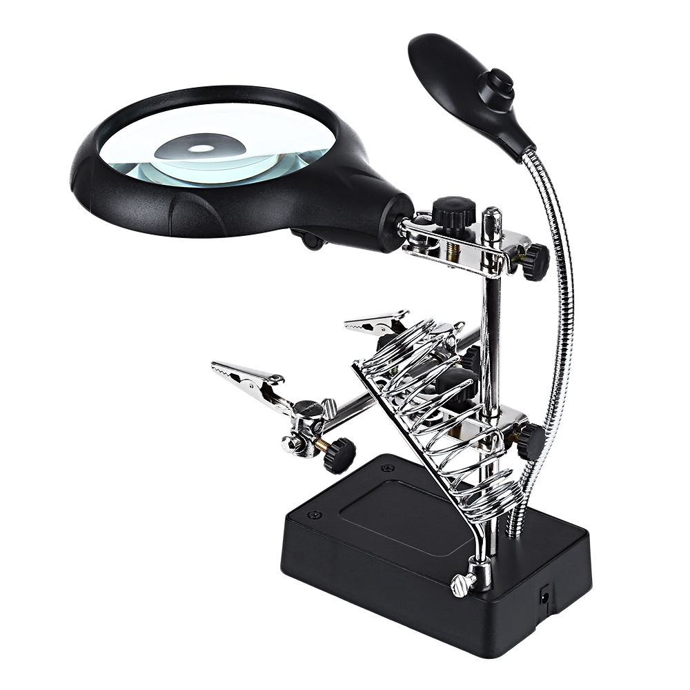 New Welding Magnifying Glass 5 LED Auxiliary Clip Magnifier 2 Exchangeable Lens Hand Soldering Solder Iron Stand Holder Station hand soldering iron stand helping clamp magnifying tool auxiliary clip magnifier station holder