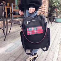 Women's New Oxford Spinning with Leather Backpack Casual Joker Simple Lightweight Plaid Bag Large Capacity Backpack