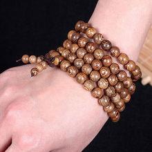 Multilayer Wenge Prayer Beads Tibetan Buddhist Mala Buddha Bracelet Rosary Wooden for Women and Men