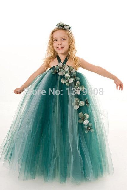 30faa017c7d9 dark green mix fluffy tutu flower girl dresses beautiful bridesmaid dress  handmade tutu dress add many flowers on tulle