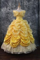 Belle Princess adult yellow gown dress Belle Princess Costume From Beauty And The Beast Belle Cosplay Costume