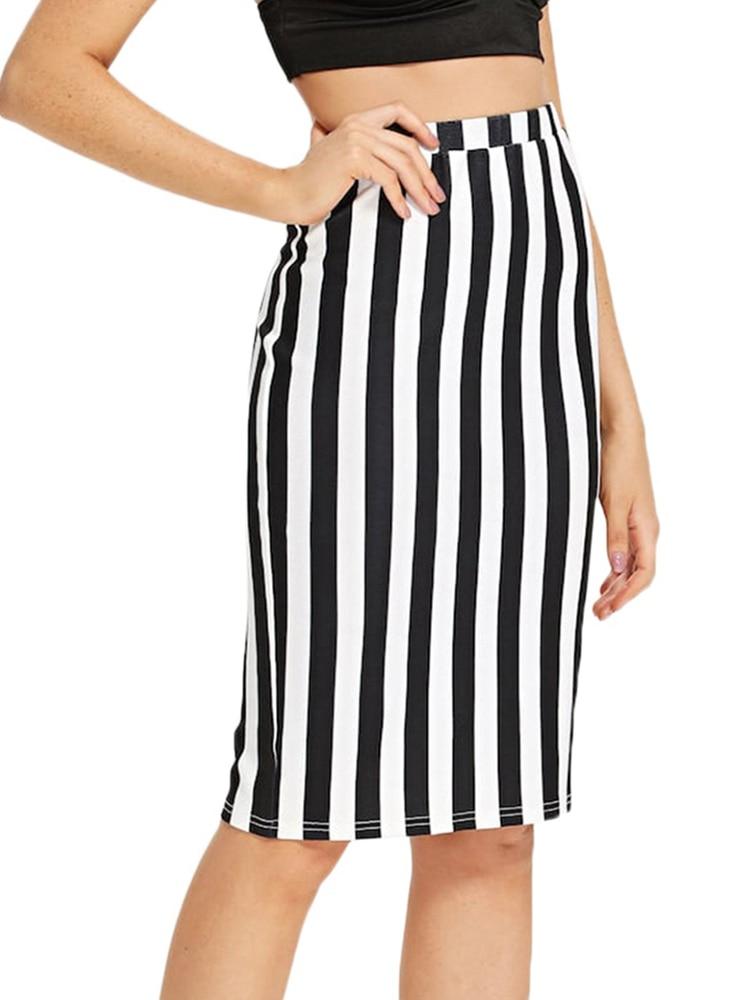 Casual Knee Length OL Skirts Women Summer Striped Print Pencil Skirt 2019 New Fashion Faldas Mujer Moda Jupe Femme