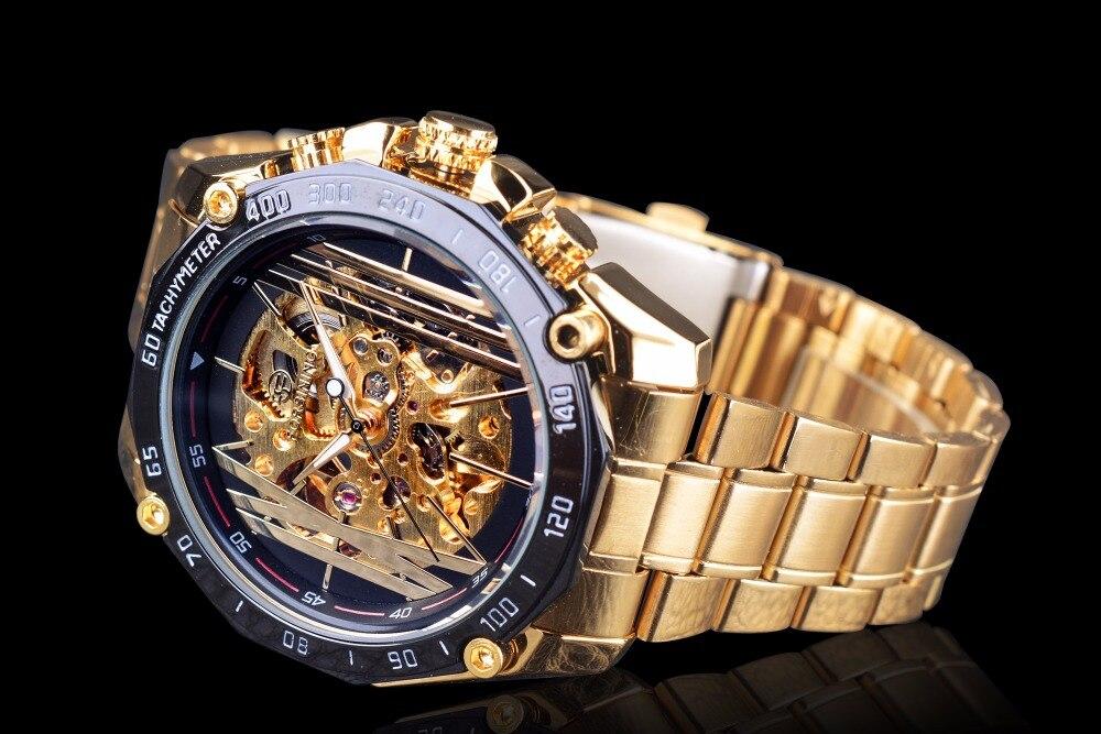 de aço inoxidável dos homens relógios mecânicos marca superior luxo