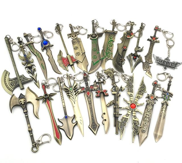 League of New Legends Diana keychain LOL Aatrox Xin Zhao Darius Master Yi Knife Gun Weapon model pendants Keyring Jewelry gifts