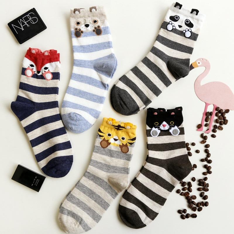 New Fashion Cute Cartoon Panda Fox Dog Cotton   Socks   Kawaii Striped Creative   Socks   For Women Female Kawaii Funny   Socks   Sokken