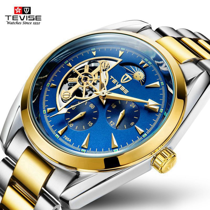 TEVISE New 2107 Top Fashion Skeleton Automatic Mechanical Watch Busiiness Watches Men Famous Male Clock Montre Relogio Masculino