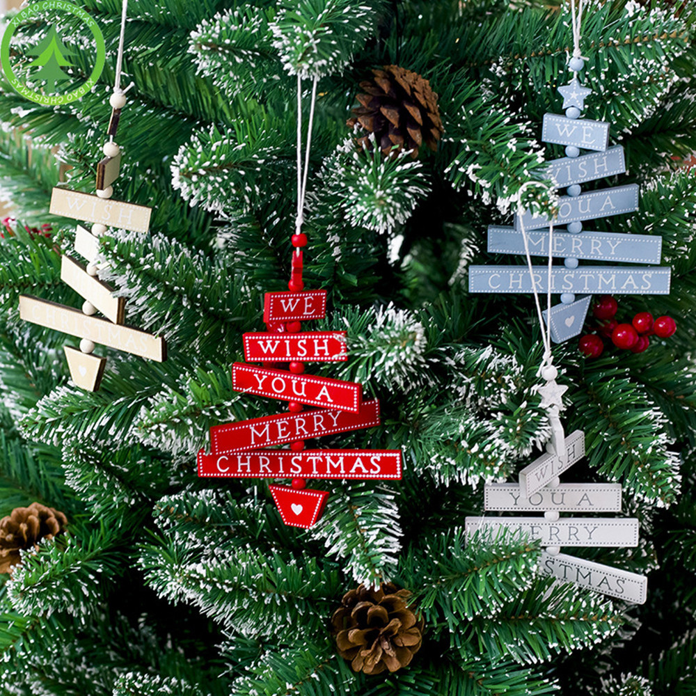 2019 Merry Christmas Colorful Wooden Pendants Painted ...