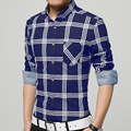 Spring Men's Full Sleeve Shirts Gentlem Casual Clothing Fashion Easy-care Slim Plaid  Pocket Comfortable Shirts 3 Color New Top