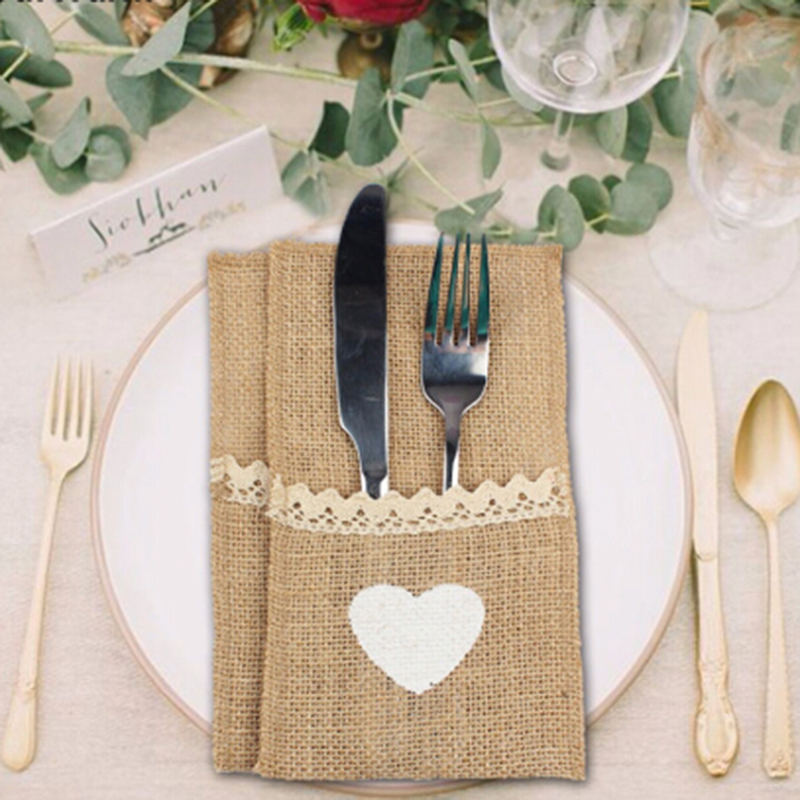 10pcs Jute Hessian Tableware Pouch Pocket Love Cutlery Knife Fork Holder Rustic for Wedding Decoration