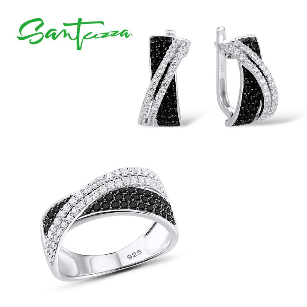 SANTUZZA Jewelry Set For Women Luxury Sparkling Black White CZ Ring Earrings Set Authentic 925 Sterling