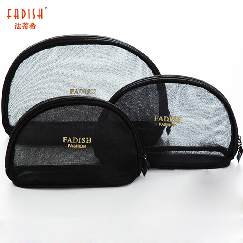 Fadish Cosmetic Bag Nylon Makeup Bags Travel Organizer Necessary Transparent Beauty Case Toiletry Bag Wash Make Up Pouch fadish transparent cosmetic bag pvc makeup bags travel organizer necessary beauty case toiletry bag wash make up pouch striped