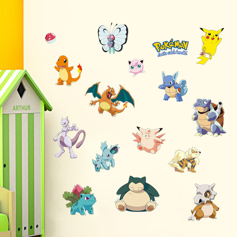 Us 2 76 14 Off Pocket Monster Pokemon Wall Sticker For Kids Room Home Decoration Pikachu Amination Poster Diy Game Cartoon Nursery Wallpaper In Wall