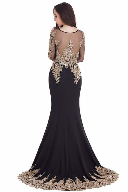 Sexy O-neck Black Mermaid Gold Lace Evening Dresses 2019 Long Sleeve Dubai  Kaftan Formal 3ffa461070e7