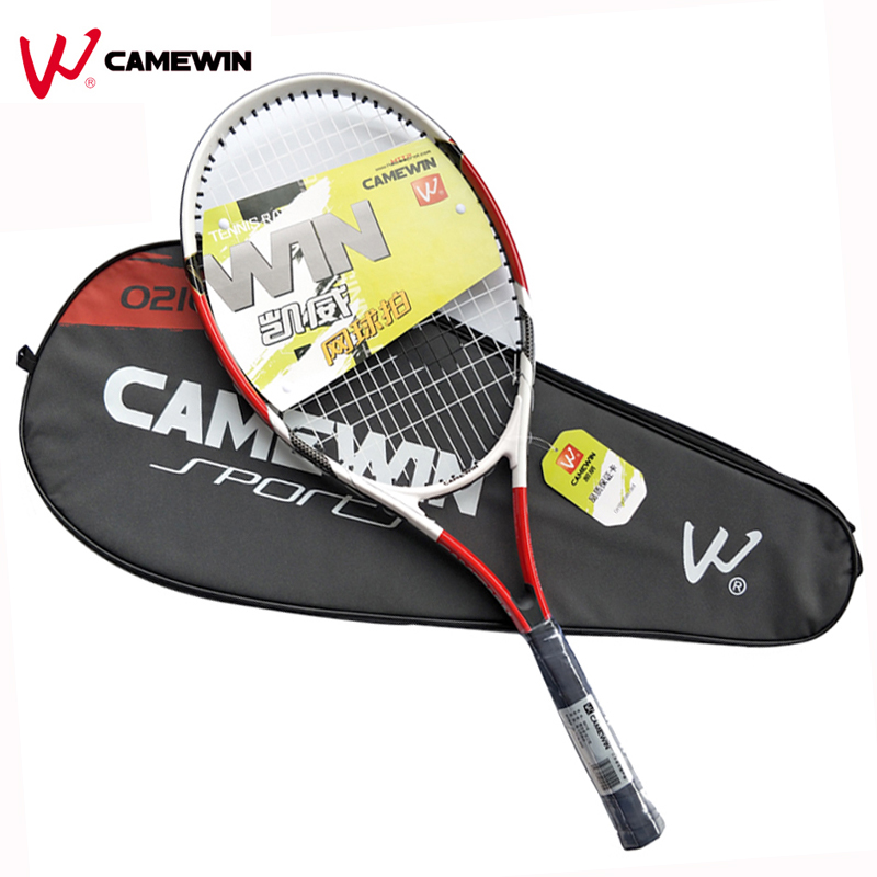 1 Piece Aluminum Alloy Tennis Racket CAMEWIN Brand High Quality Tennis Racket with Bag For Men and Women (Color: Black Red)