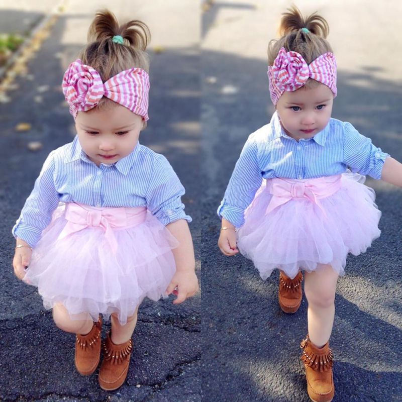 f4f77df067d7f6 2Pcs Summer Baby Girl Clothes Set T-shirt Top Striped Lace Tutu Skirt Bow  Outfits
