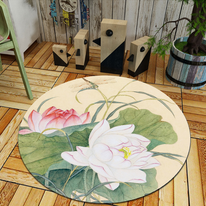 Fashion Flowers Plants Print Round Carpets for Living Room Floor Mat/Rug Bedroom Decor Carpet Kids Room computer chair Mat Rugs
