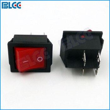 20 piezas interruptor de encendido 250V 16A 4 pines LED Botón Rojo interruptor basculante para juego de Arcade accesorio