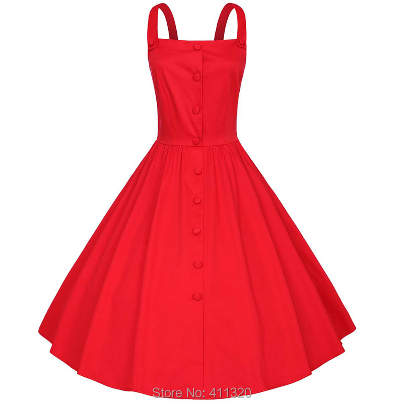 Womens Classy Sleeveless Solid Flare Vintage Dress 1940s 50s 60s Style Pin up Rockabilly Swing Party Dresses Plus Big Sizes (8)