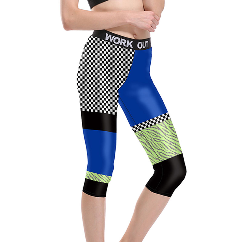 Breathable Women Color Stitching Capri Pants Plus Size Fitness Leggings Mujer Compression Calf-Length Pant Slim Workout Jeggings
