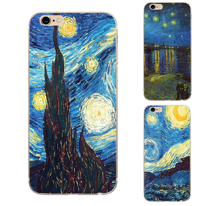 best website dd1b3 cf032 Starry Night Van Gogh Design Paint Phone Case For Iphone X 8 8 Plus 7 7  Plus 6 6S 5 5S SE Case Soft silicone Soft TPU Cover Case