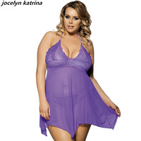 Jocelyn Katrina Brand Foreign Trade Big Yards Sexy Lingerie Summer Pajamas Women Fat Condole Belt Nightgown