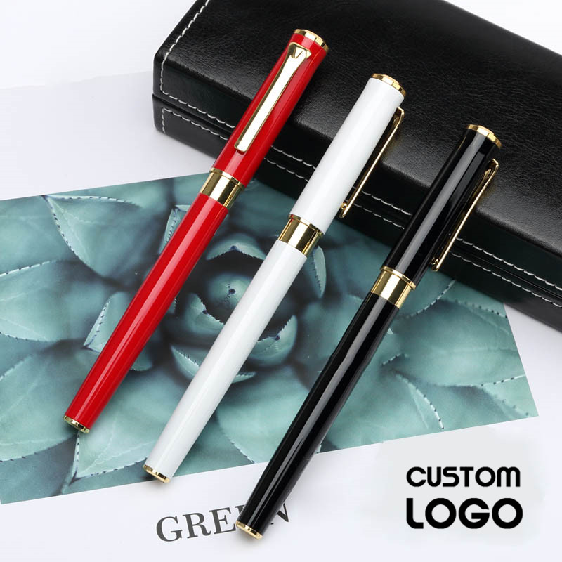 0 5mm Business High grade Metal Gel Pens Fashion Laser Lettering Custom Logo High Quality Pens Student Stationery Office Writing in Gel Pens from Office School Supplies