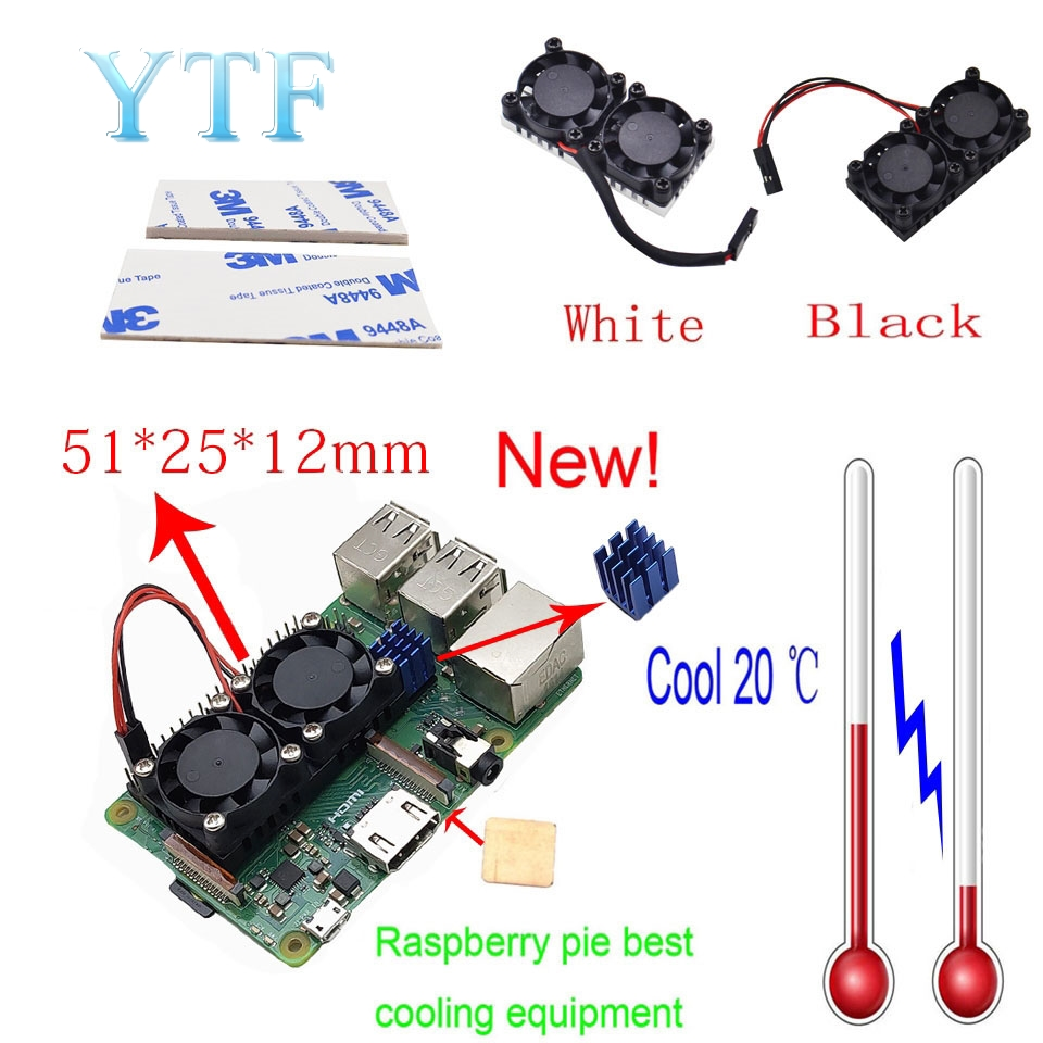 Raspberry Pi 4B 3 B+ Dual Fan Ultimate Heatsink Cooler With Double Cooling