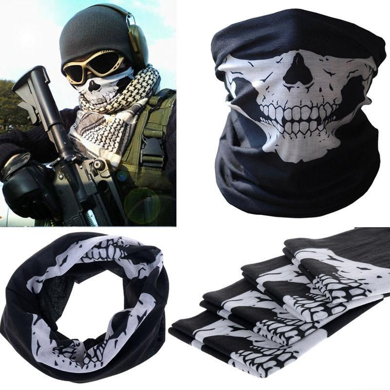 Espesar Multifunción Tactical Bufanda Musulmán Hijab Del Mantón de Las Mujeres Skull Airsoft Militar Shemagh Árabe