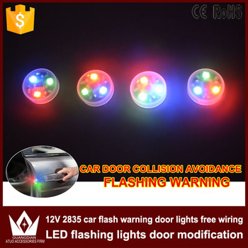 Tcart Car LED Door Opened Flash Warning Signal Light Red Green Blue Wireless Decorative Avoid Crash Lamp For Mercedes Benz w124 image