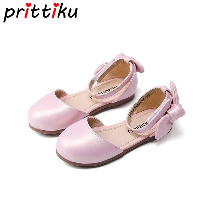 Summer 2018 Toddler Girls Closed Toe Princess Sandals Little Kid Patent Nubuck Glitter Mary Jane Flats Big Children Dress Shoes