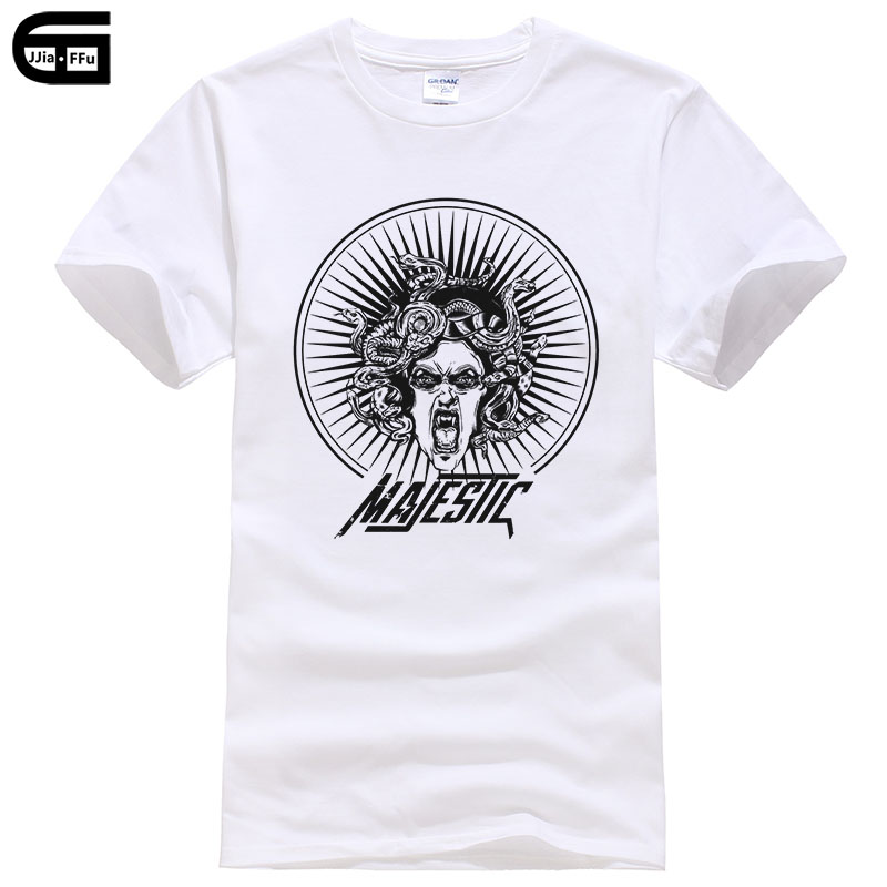 Summer Anime Cotton T Shirts Snake Medusa Print Men T-shirt Snake Hair Male Tee Short Sleeve Shirts Fashion Man T Shirt T166
