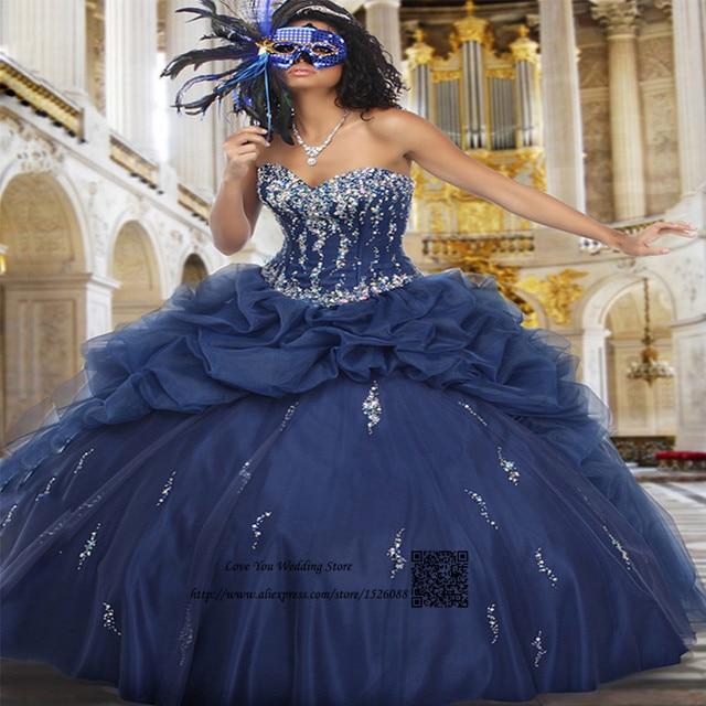 e50191889 Vestidos Para Festa de 15 anos Sweet 15 Dresses Masquerade Ball Gowns Navy Blue  Crystals Ball Gown Quinceanera Gowns 2017 Jacket