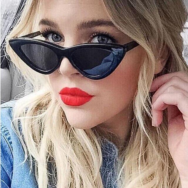 2018 NOVA Bonito Sexy Retro Cat Eye Sunglasses Mulheres Preto Pequeno Triângulo Branco Barato óculos de Sol Do Vintage uv400 Vermelho Feminino