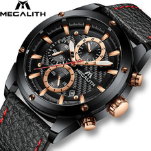 MEGALITH Watch Men Sports Chronograph Waterproof Black Leather Quartz Wirst For Clock Relogio Masculino 8004