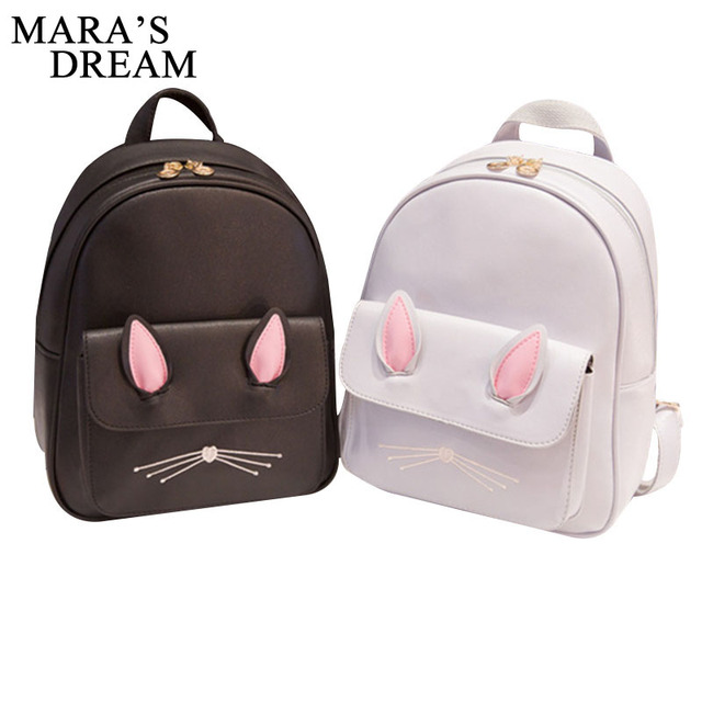 9f278bc83c Mara  Dream 2018 Cat Ears Backpack Female Funny PU Leather Anime Back to  School Bag