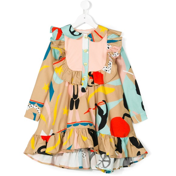 Autumn and winter custom printed baby girl baby dress round neck long-sleeved ruffled white casual round neck ruffled dress