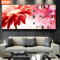 Diamond Mosaic DIY Wall Clock Diamond Painting Cross Stitch Red Flower Watch Diamond Embroidery Full Round