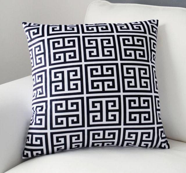 Hot Geometric Cushion Cover Velvet Greek Key Black White Decorative Throw  Pillow Case Soft Sofe Home