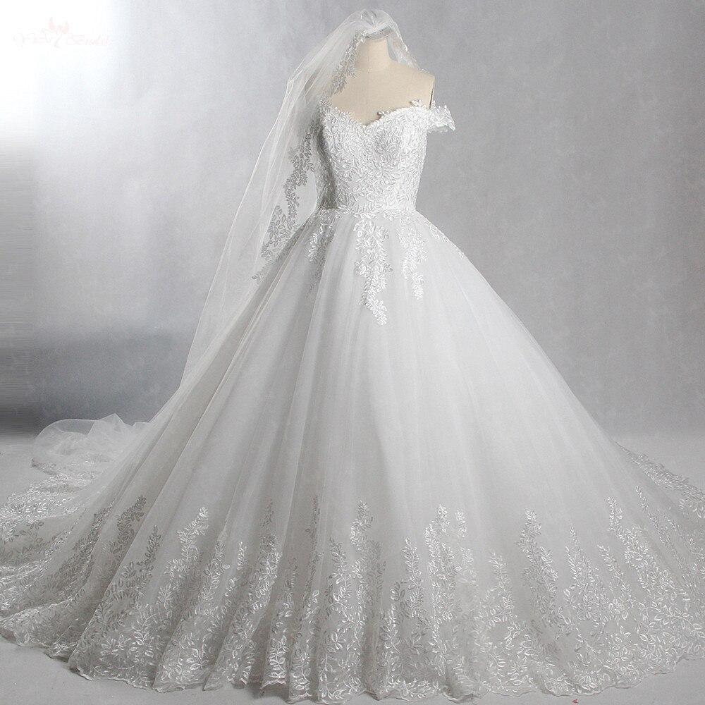 RSW246 с плеча Свадебные платья бальное платье листьев узор кружева с бесплатной вуаль Yiaibridal реальной работы