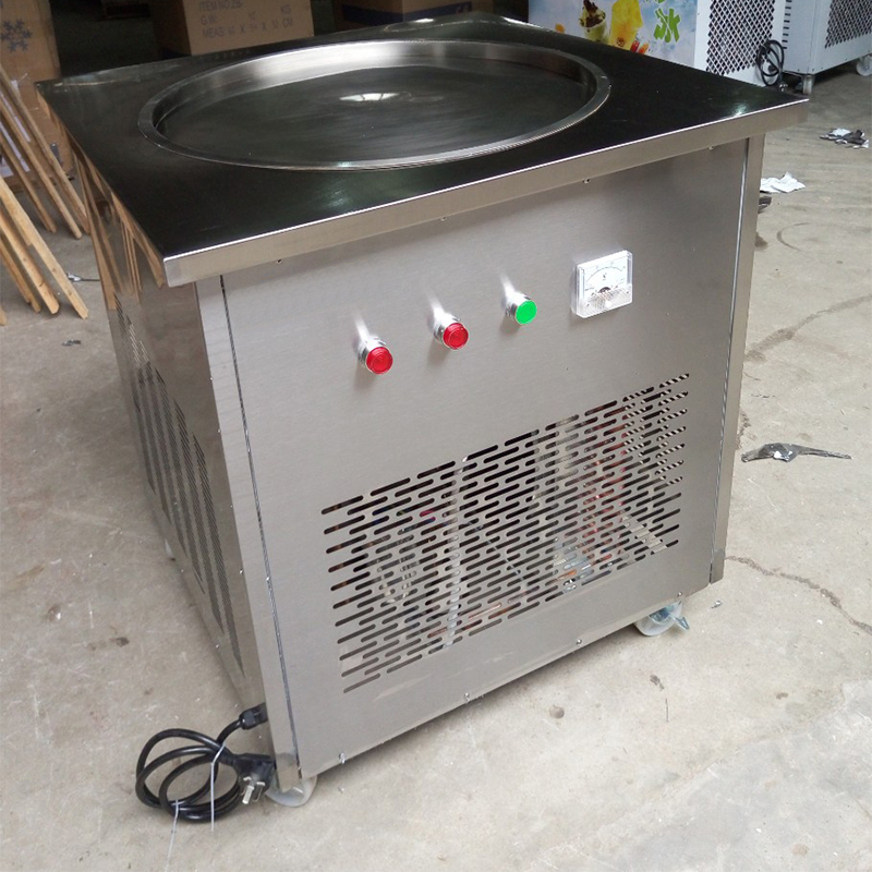 NEW 60 CM Stainless steel sigle pan flat Fried Ice cream machine 48cm ice pan maker Fry ice cream roll pan machine intelligent square pan double compressor fry ice cream machine ice pan machine fried ice cream roll machine with freezer
