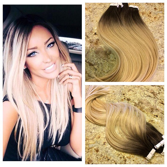 Balayage Ombre Color 2 Fading To Color 60 Tape In Hair Extensions