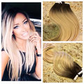 Balayage Ombre Color 2 Fading to Color 60 Tape in Hair Extensions Real Human Hair Skin Weft Remy Hair Extension BY228